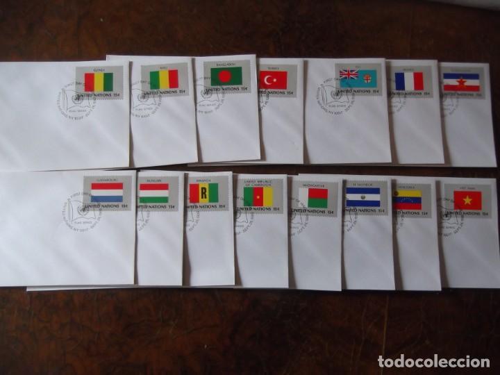LOTE SOBRES CON SELLOS PRIMER DÍA NACIONES UNIDAS (Sellos - Historia Postal - Sello Español - Sobres Primer Día y Matasellos Especiales)