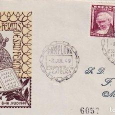 Sellos: SAN FERMIN II EXPOSICION FILATELICA, PAMPLONA NAVARRA 1949 MATASELLOS RARO SOBRE ILUSTRADO CIRCULADO. Lote 251085295