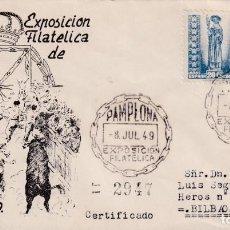 Sellos: TOROS TAUROMAQUIA SAN FERMIN II EXPOSICION, PAMPLONA (NAVARRA) 1949. MATASELLOS SOBRE CIRCULADO ET.. Lote 251085400