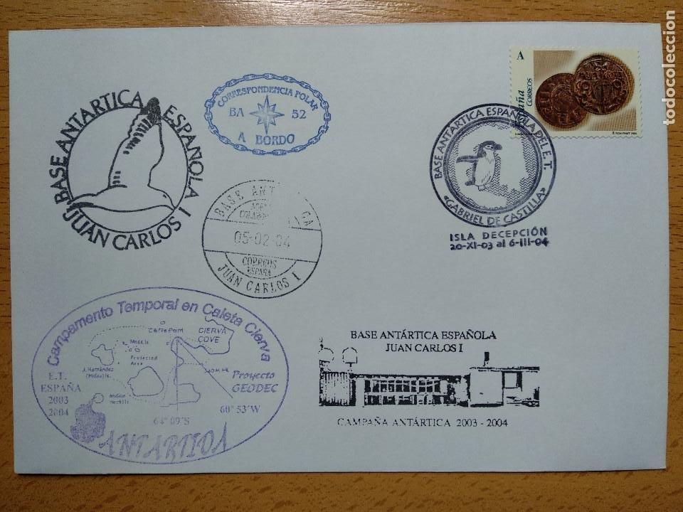 BASE ANTARTICA ESPAÑOLA JUAN CARLOS I, 2003-2004 ISLA DECEPCION 8 SELLOS. VER REVERSO.. (Sellos - Historia Postal - Sello Español - Sobres Primer Día y Matasellos Especiales)