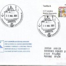 Francobolli: CC CON MAT EXPEDICION ANTARTICA SUSPENDIDA POR EL COVID - CORREO DESINFECTADO HESPERIDES SHIP. Lote 248117590