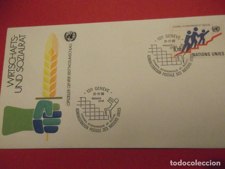 SOBRE PRIMER DÍA 1980 NACIONES UNIDAS (Sellos - Historia Postal - Sello Español - Sobres Primer Día y Matasellos Especiales)