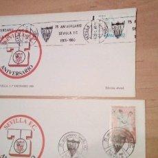Sellos: 2 SOBRES CON MATASELLO. SEVILLA. 1980. 75 ANIVERSARIO SEVILLA FC.. Lote 253995010