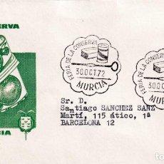 Sellos: FERIA DE LA CONSERVA MURCIA 1972. MATASELLOS EN SOBRE CIRCULADO DE ALFIL. LLEGADA. BONITO Y RARO ASI. Lote 254080080
