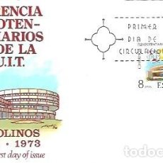 Sellos: SOBRE PRIMER DIA EDIFIL 2145 CONFERENCIA DE PLENIPOTENCIARIOS DE LA U.I.T. 14 SET 1973 PALACIO DE CO. Lote 254115520