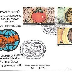 Sellos: XXI JORNADAS LOPETELICAS. 500 ANIVERSARIO DEL DESUBRIMIENTO. BARCELONA 1989. Lote 255516040