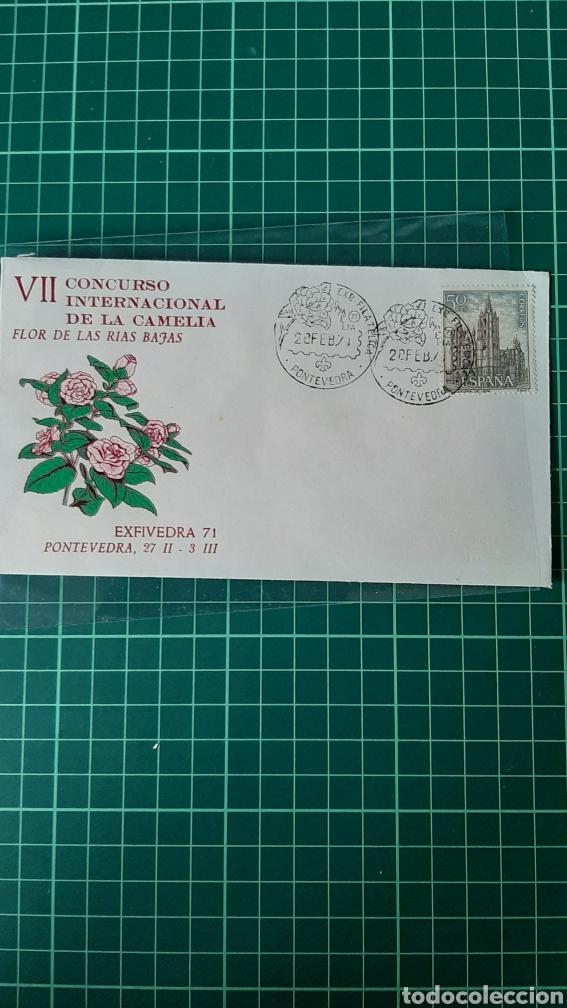 CAMELIA FLORA FLORES EXPOSICIÓN FILATÉLICA PONTEVEDRA GALICIA 1971 ESPAÑA (Sellos - Historia Postal - Sello Español - Sobres Primer Día y Matasellos Especiales)