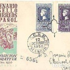 Sellos: SOBRE PRIMER DIA CENTENARIO DEL SELLO DE CORREOS ESPAÑOL EXPOSICION COMMEMORATIVA 12 22 OCT 1950. Lote 259769805