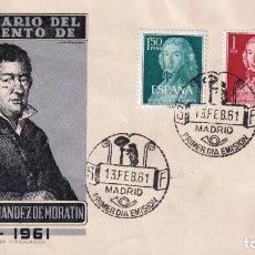 Sellos: LEANDRO FERNANDEZ DE MORATIN II CENTENARIO 1961 (EDIFIL 1328/29) EN SOBRE PRIMER DIA DE EG. RARO ASI. Lote 259853820