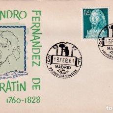 Sellos: LEANDRO FERNANDEZ DE MORATIN II CENTENARIO 1961 (EDIFIL 1328/29) EN SOBRE PRIMER DIA DE ARRONIZ. MPM. Lote 259854325