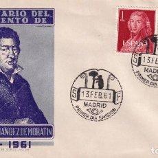 Sellos: LEANDRO FERNANDEZ DE MORATIN II CENTENARIO 1961 (EDIFIL 1328/29) EN SOBRE PRIMER DIA ALONSO RARO ASI. Lote 259855045