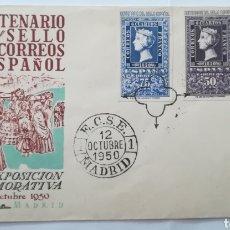 Sellos: ESPAÑA 1950 CENTENARIO DEL SELLO ESPAÑOL EDIFIL 1075/1076 SOBRE DE PRIMER DIA SPD FDC. Lote 260674740
