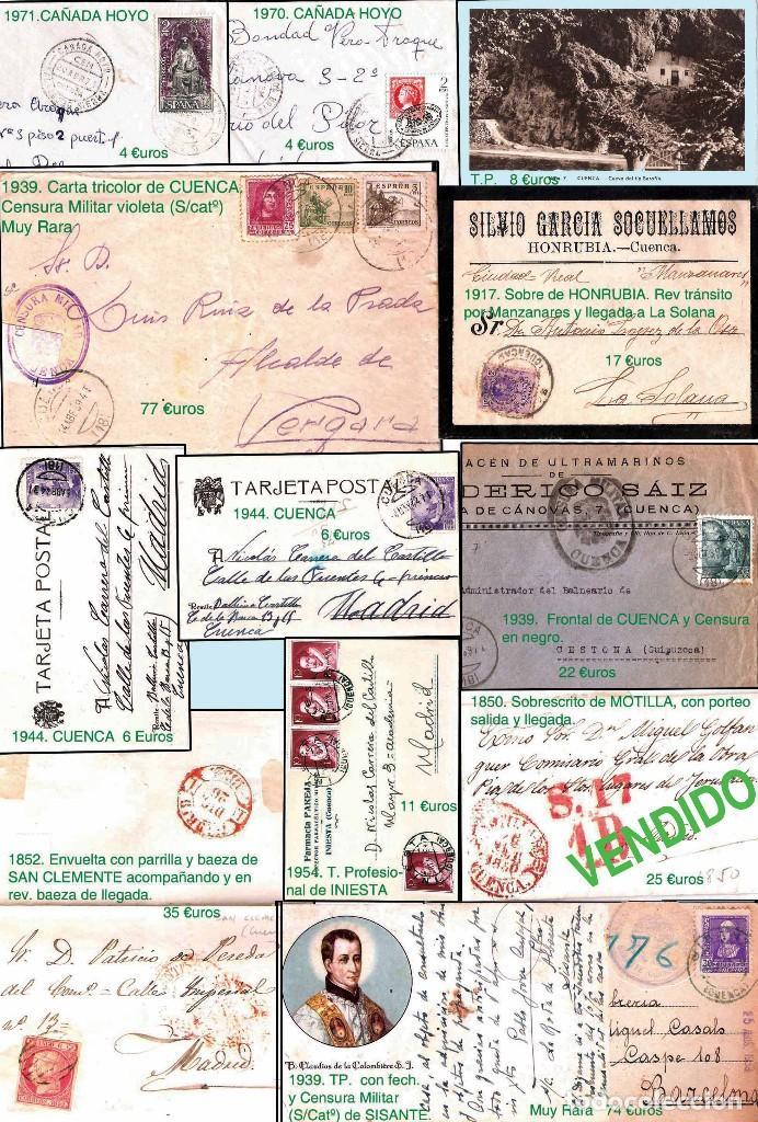 Sellos: CUENCA Y PROV.- HISTORIA POSTAL, MATASELLOS. P.V. 5.384 €. VER CONDICIONES Y 2 FOTOS ADICIONALES. - Foto 2 - 31677162