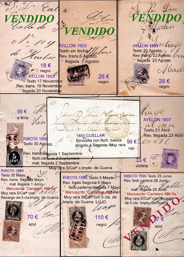 Sellos: SEGOVIA Y PROV.-HIST. POSTAL. MATASELLOS, CARTAS y E. LOCALES. P.V. 5.692 €.VER 15 FOTOS-CONDICIONES - Foto 10 - 31844447