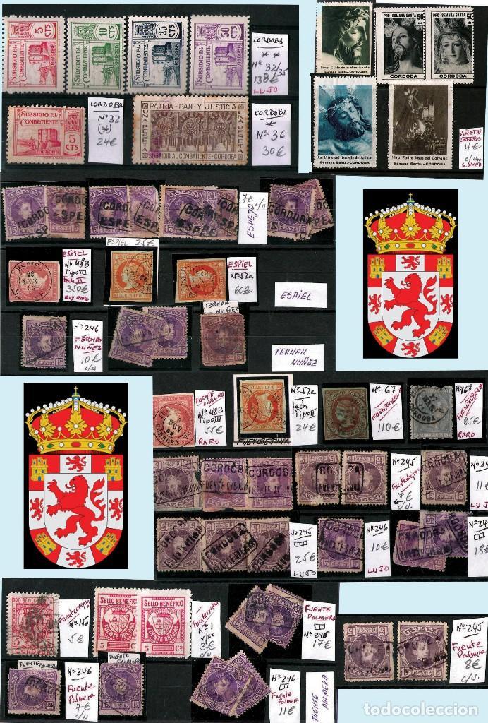 Sellos: CORDOBA Y PROV.- H. POSTAL, MATASELLOS Y E. LOCALES. P.V. 4.599 €. VER 6 PLANCHAS.Y CONDICIONES. - Foto 4 - 31620589