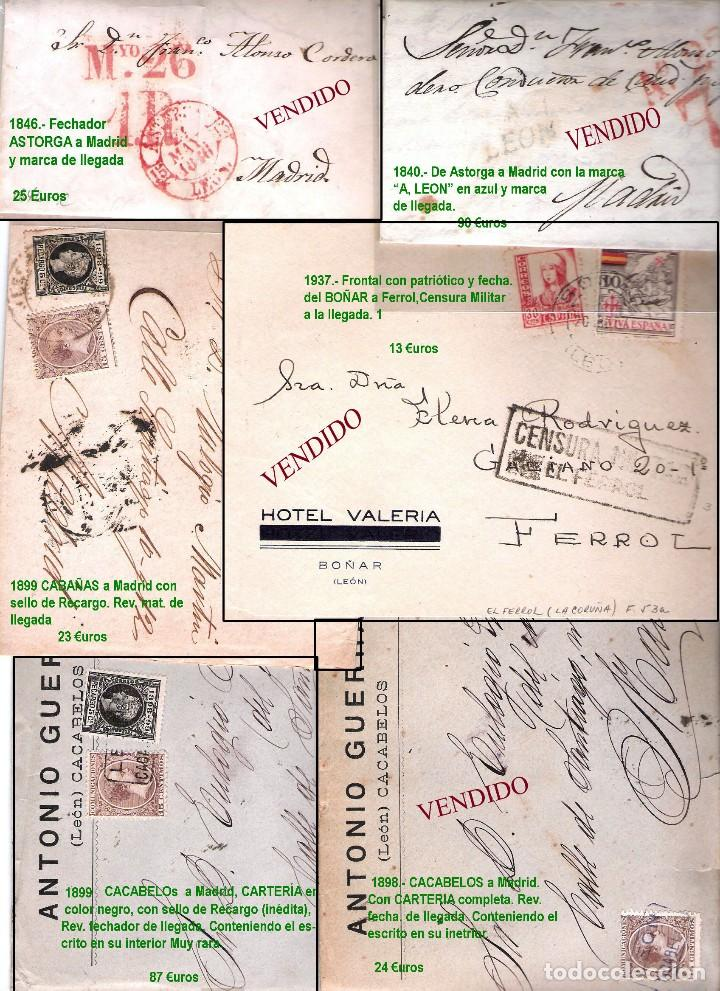 Sellos: LEON Y PROV.- HISTORIA POSTAL Y MATASELLOS. P.V. 1.416 €. VER CONDICIONES Y 7 FOTOS ADICIONALES. - Foto 2 - 31678157