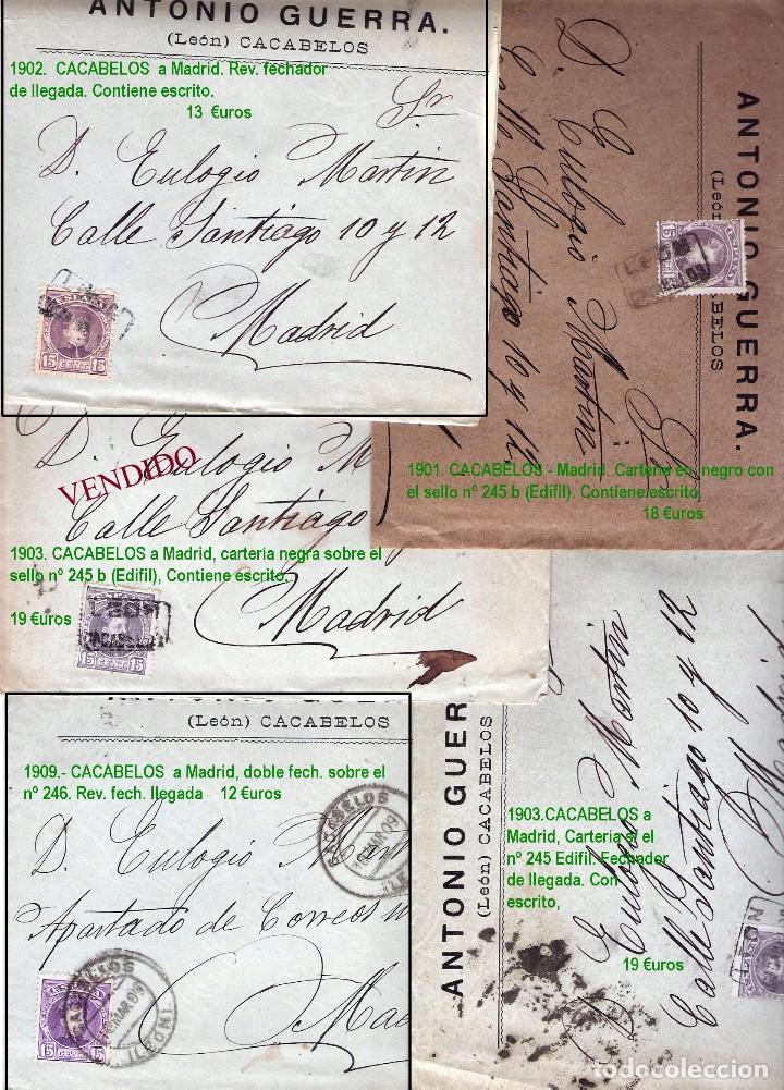 Sellos: LEON Y PROV.- HISTORIA POSTAL Y MATASELLOS. P.V. 1.416 €. VER CONDICIONES Y 7 FOTOS ADICIONALES. - Foto 4 - 31678157