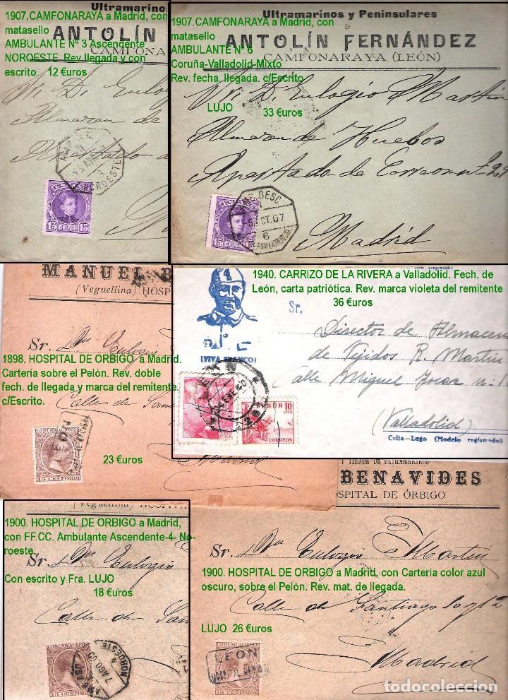 Sellos: LEON Y PROV.- HISTORIA POSTAL Y MATASELLOS. P.V. 1.416 €. VER CONDICIONES Y 7 FOTOS ADICIONALES. - Foto 5 - 31678157