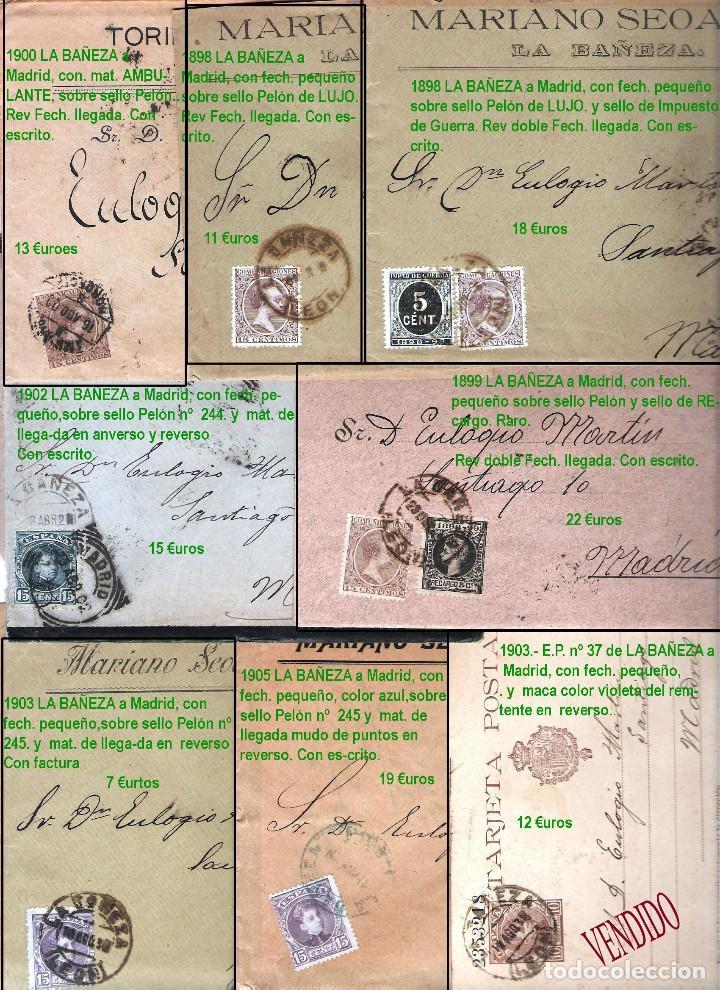 Sellos: LEON Y PROV.- HISTORIA POSTAL Y MATASELLOS. P.V. 1.416 €. VER CONDICIONES Y 7 FOTOS ADICIONALES. - Foto 7 - 31678157