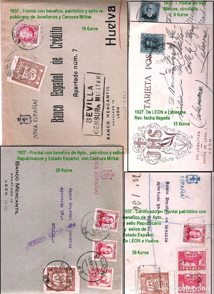 Sellos: LEON Y PROV.- HISTORIA POSTAL Y MATASELLOS. P.V. 1.416 €. VER CONDICIONES Y 7 FOTOS ADICIONALES. - Foto 8 - 31678157