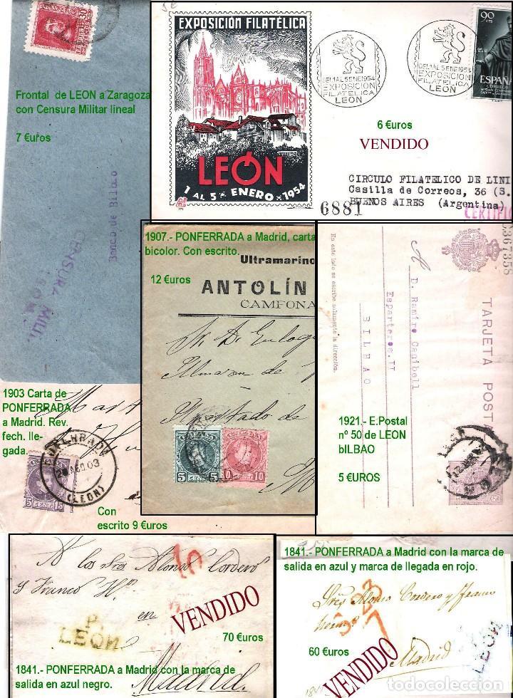 Sellos: LEON Y PROV.- HISTORIA POSTAL Y MATASELLOS. P.V. 1.416 €. VER CONDICIONES Y 7 FOTOS ADICIONALES. - Foto 10 - 31678157