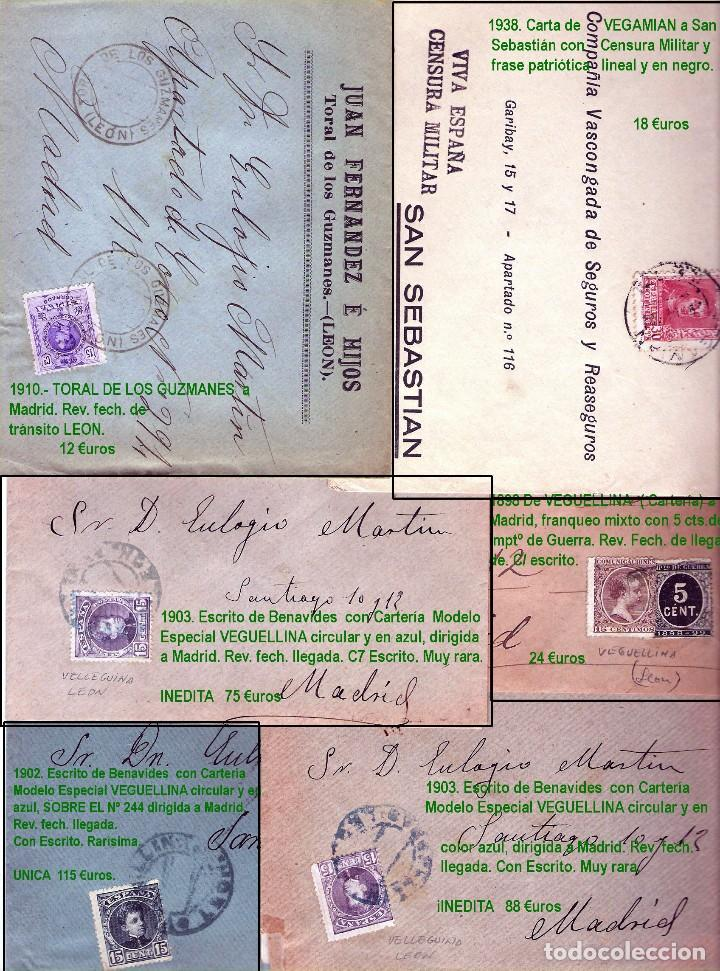 Sellos: LEON Y PROV.- HISTORIA POSTAL Y MATASELLOS. P.V. 1.416 €. VER CONDICIONES Y 7 FOTOS ADICIONALES. - Foto 12 - 31678157