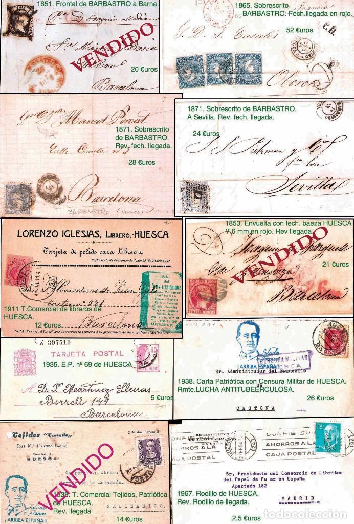 Sellos: HUESCA Y PROV.- H. POSTAL, MAT., CARTAS, E. LOCALES y T.P. P.V. 2.830 €. VER 7 FOTOS - CONDICIONES. - Foto 4 - 31701232