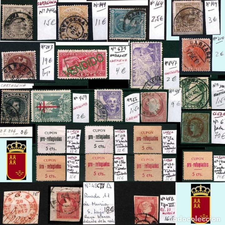 Sellos: MURCIA Y PROV.- H. POSTAL, MAT., E. LOCALES, CARTAS - T.P. P.V. 2.571 €.VER 11 PLANCHAS -CONDICIONES - Foto 3 - 31774716