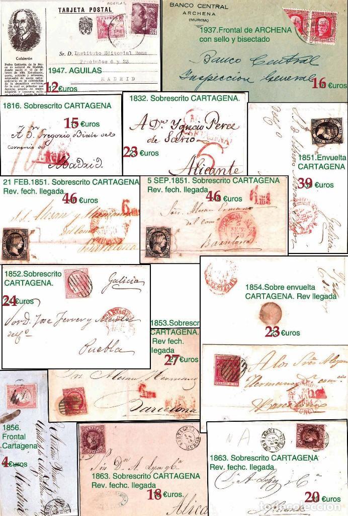 Sellos: MURCIA Y PROV.- H. POSTAL, MAT., E. LOCALES, CARTAS - T.P. P.V. 2.571 €.VER 11 PLANCHAS -CONDICIONES - Foto 5 - 31774716