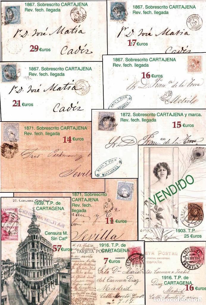 Sellos: MURCIA Y PROV.- H. POSTAL, MAT., E. LOCALES, CARTAS - T.P. P.V. 2.571 €.VER 11 PLANCHAS -CONDICIONES - Foto 6 - 31774716