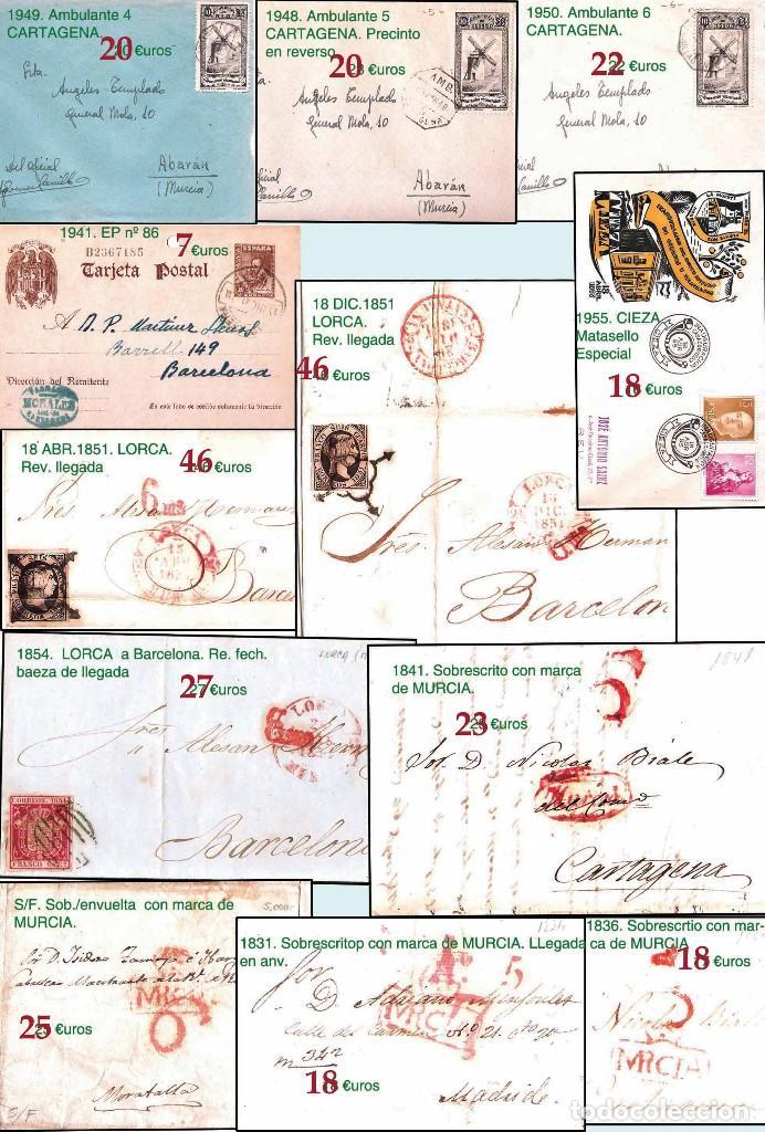 Sellos: MURCIA Y PROV.- H. POSTAL, MAT., E. LOCALES, CARTAS - T.P. P.V. 2.571 €.VER 11 PLANCHAS -CONDICIONES - Foto 8 - 31774716