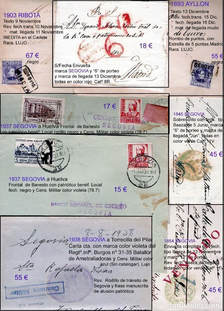 Sellos: SEGOVIA Y PROV.-HIST. POSTAL. MATASELLOS, CARTAS y E. LOCALES. P.V. 5.692 €.VER 15 FOTOS-CONDICIONES - Foto 12 - 31844447