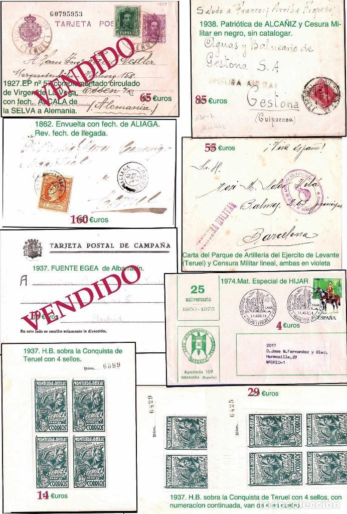 Sellos: TERUEL Y PROV.- HISTORIA POSTAL, MATASELLOS Y CARTAS.P.V, 2.393 €. VER 5 PLANCHAS Y CONDICIONES. - Foto 4 - 31793275