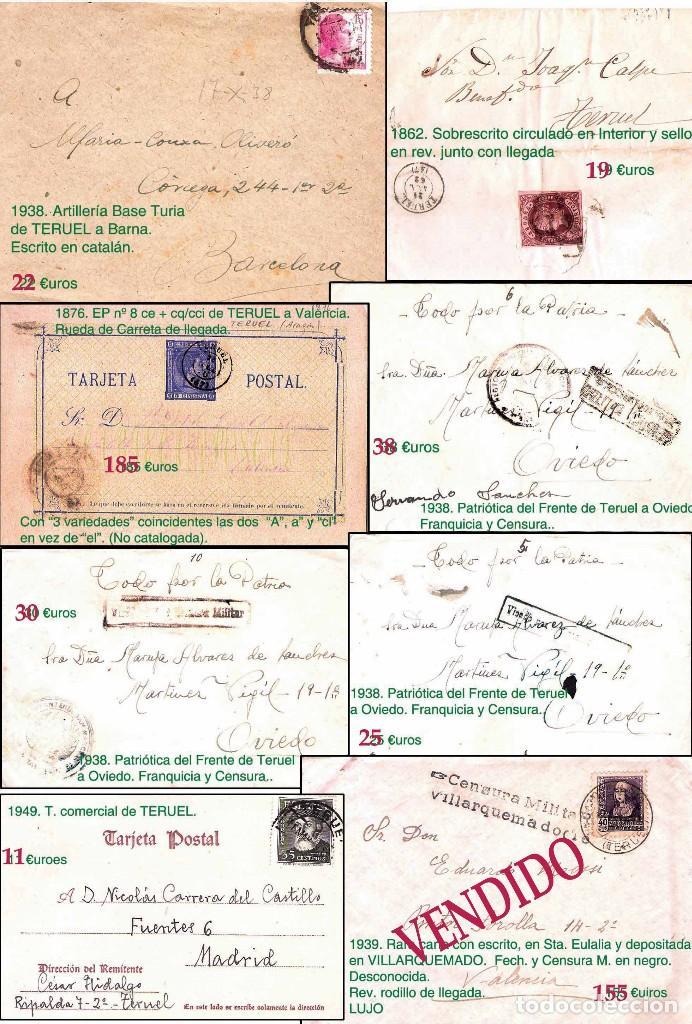 Sellos: TERUEL Y PROV.- HISTORIA POSTAL, MATASELLOS Y CARTAS.P.V, 2.393 €. VER 5 PLANCHAS Y CONDICIONES. - Foto 5 - 31793275