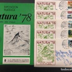 Sellos: LOTE LIBRO SOBRES MATASELLOS NATURALEZA MONTAÑISMO EXPOSICIÓN FILATÉLICA NATURA 78 IRÚN. Lote 261823545