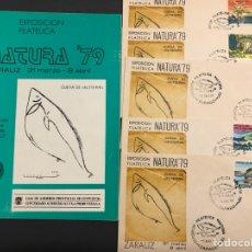 Sellos: LOTE LIBRO SOBRES MATASELLOS NATURALEZA PREHISTORIA EXPOSICIÓN FILATÉLICA NATURA 79 ZARAUZ. Lote 261829630