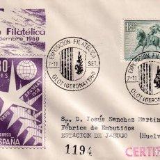 Sellos: V EXPOSICION FILATELICA, OLOT (GERONA GIRONA) 1960. MATASELLOS EN SOBRE CIRCULADO DP. RARO ASI.. Lote 262000290