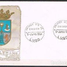 Sellos: [C0255] ESPAÑA 1964; FDC ESCUDOS CAPITALES DE PROVINCIA: LUGO (NS). Lote 262018130