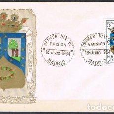 Sellos: [C0257] ESPAÑA 1964; FDC ESCUDOS CAPITALES DE PROVINCIA: MADRID (NS). Lote 262018320
