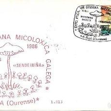 Sellos: SETAS MICOLOGIA VIII SEMANA MICOLOXICA GALEGA, A RUA (OURENSE) 1986. MATASELLOS RARO SOBRE ILUSTRADO. Lote 262217645