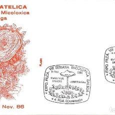 Sellos: SETAS MICOLOGIA VIII SEMANA MICOLOXICA GALEGA, A RUA (OURENSE) 1986. RARO MATASELLOS EN SOBRE FLASH.. Lote 262217830
