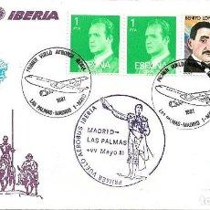 Sellos: RARA MARCA AEREA PRIMER VUELO AEROBUS IBERIA MADRID-LAS PALMAS (CANARIAS) 1981 EN SOBRE DON QUIJOTE. Lote 263050495