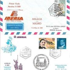 Sellos: DON QUIJOTE PRIMER VUELO AEROBUS IBERIA MALAGA-MADRID-MALAGA 1981 EN DOS SOBRES CON RARA MARCA AEREA. Lote 263053385