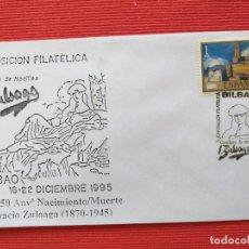 Sellos: SOBRE PRIMER DIA. EXPOSION FILATELICA. BILBAO, DICIEMBRE 1995. IGNACIO ZULOAGA. CONDESA DE NOAILLES. Lote 264343080