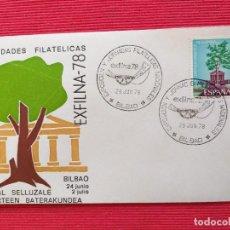 Sellos: SOBRE ILUSTRADO. EXFILNA 78. EXPOSICIÓN Y JORNADAS FILATÉLICAS NACIONALES. MATASELLO BILBAO. 1978.. Lote 264360984
