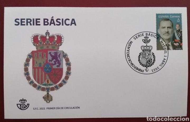 ESPAÑA 2021 SERIE BÁSICA REY FELIPE VI - SOBRE PRIMER DÍA SPD (Sellos - Historia Postal - Sello Español - Sobres Primer Día y Matasellos Especiales)