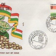 Sellos: SOBRE PRIMER DÍA ESTATUTO DE AUTONOMÍA DE LA RIOJA 1983. LOGROÑO. SOBRE-327. Lote 269207398