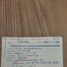Sellos: 1940 RESGUARDO DE GIRO POSTAL CORUÑA DIRIGIDO A RIBADEO. Lote 269293403