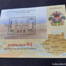Sellos: PRUEBA DE LUJO DE LA EXPOSICION EXFILINA EN LAS PALMAS 1994, NUEVO. Lote 269604973