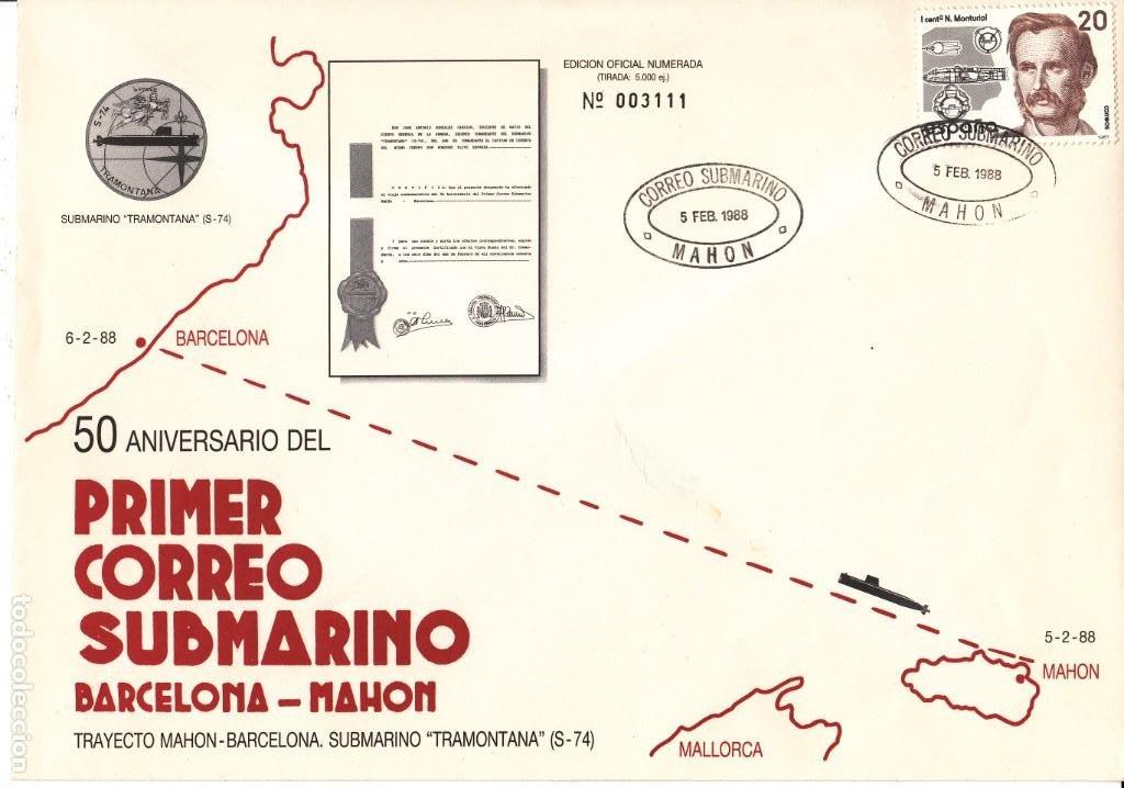 SOBRE: 50 ANIVERSARIO CORREO SUBMARINO MARCELONA - MAHON / SUBMARINO TRAMONTANA S-74 (Sellos - Historia Postal - Sello Español - Sobres Primer Día y Matasellos Especiales)